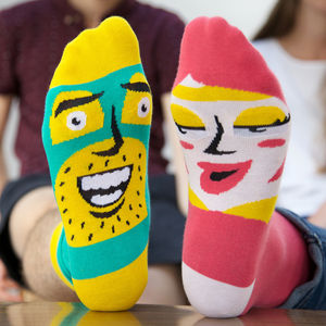 Sock Set With Funny Characters For Couples - gifts for couples