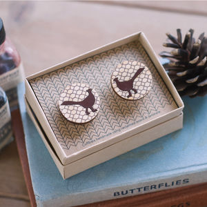 Wooden Pheasant Cufflinks - men's accessories