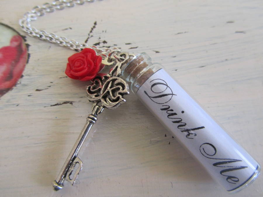 Drink Me Bottle Silver Necklace