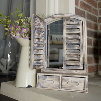 Wooden Shuttered Mirror With Drawers