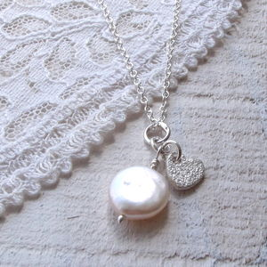 Personalised Coin Pearl And Sterling Silver Pendant