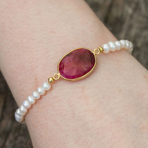 Ruby And Pearl Gold Friendship Bracelet