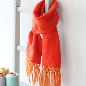 Sherbet Knitted Lambswool Scarf - shop by colour: orange
