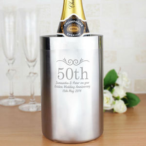 Anniversary Personalised Stainless Steel Wine Cooler - drink & barware