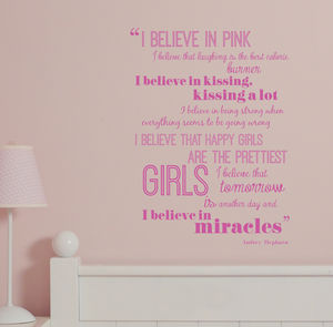 New 'I Believe In Pink' Quote Wall Sticker - prints & art sale