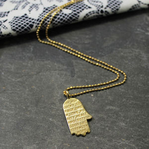 Engraved Inspirational Hamsa Hand Charm Necklace