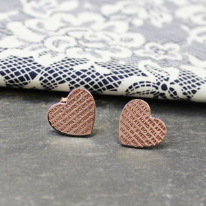 Engraved Inspirational Heart Studded Earrings