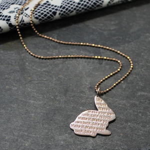 Engraved Inspirational Rabbit Charm Necklace