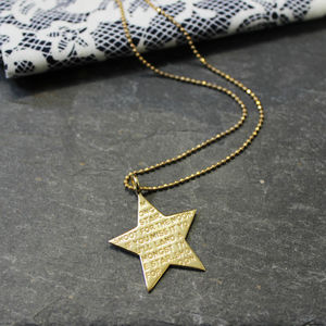 Engraved Inspirational Star Charm Necklace - off to university