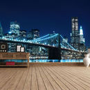 Manhattan Bridge At Night Self Adhesive Wallpaper