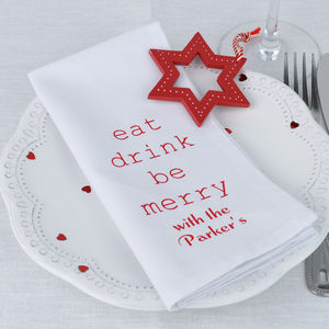 Personalised 'Eat Drink Be Merry' Napkins - napkins & napkin rings