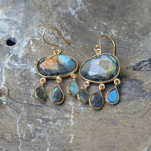 Labradorite And Gold Dangly Drop Earrings