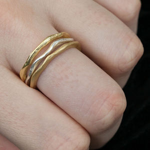 A Set Of Gold Hammered Stacking Rings