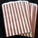100 Vintage Brown Striped Paper Candy Sweet Bags