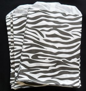 100 Black Zebra Striped Paper Candy Sweet Bags