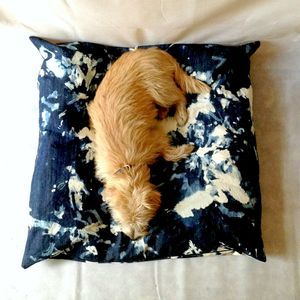 Indigo Tie Dye Denim Dog Bed Cover - floor cushions