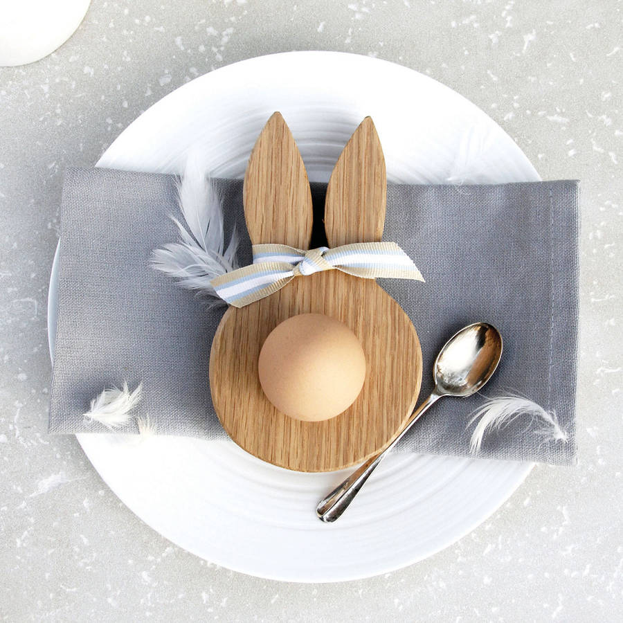 Wooden Oak Bunny Ears Egg Cup By Hop Amp Peck