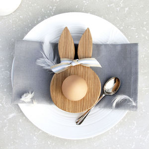 Wooden Oak Bunny Ears Egg Cup - for babies & children