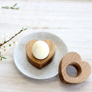 Pair Of Solid Wooden Oak Heart Egg Cups | Gift Boxed - dining room