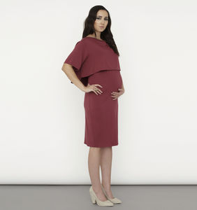 Luxe Cowl Neck Layered Nursing Dress - women's fashion