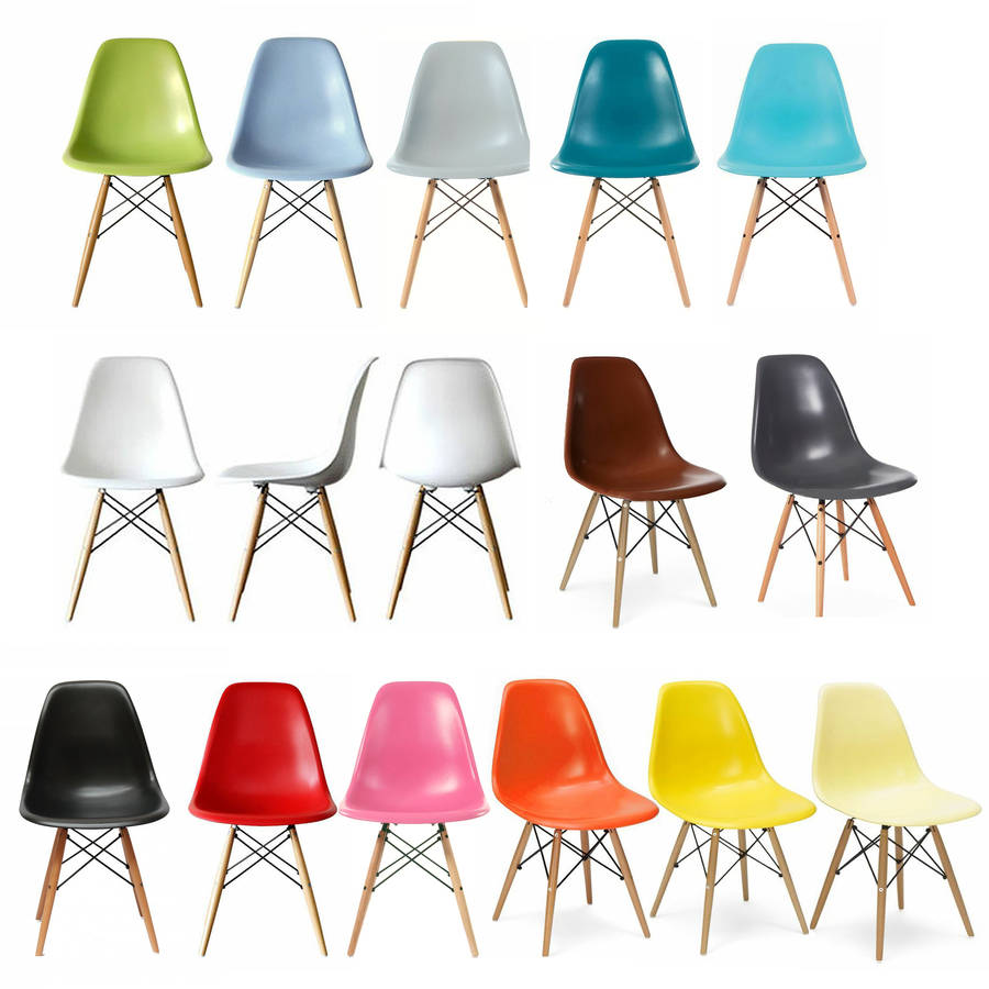 eames style dsw wood base chair 20 colours available by