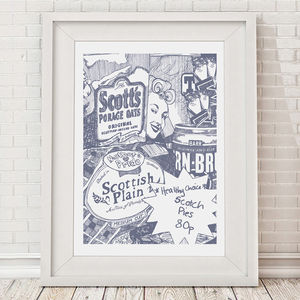 Scottish Breakfast Illustrated A3 Art Print - pictures & prints for children