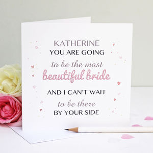 Personalised 'Beautiful Bride' Greeting Card - wedding cards