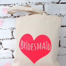 'Bridesmaid' Neon Heart Wedding Tote Bag