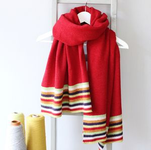 Autumn Stripe Knitted Lambswool Wrap
