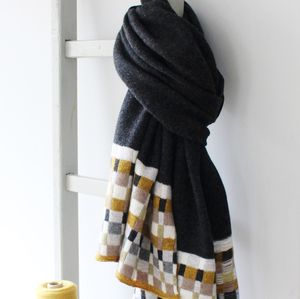 Charcoal Knitted Lambswool Wrap - pashminas & wraps