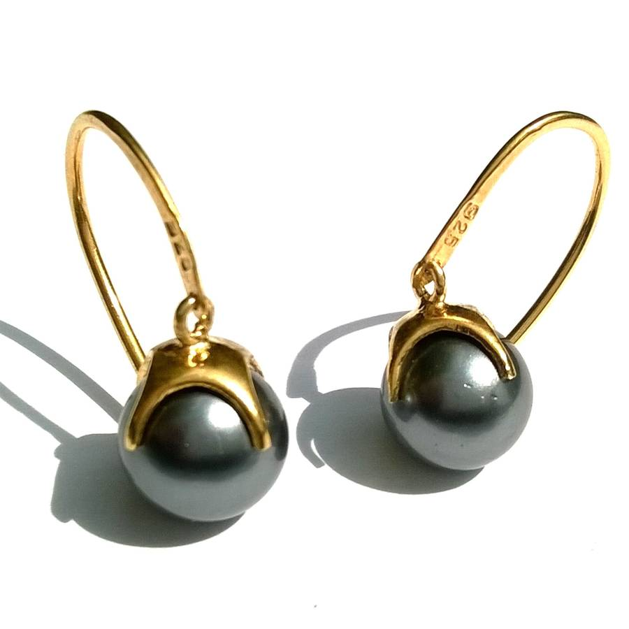 Black Pearls Earrings Gold Drop With Claw
