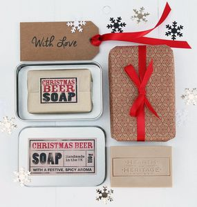 Christmas Beer Gift Soap In Metal Tin - bath & body