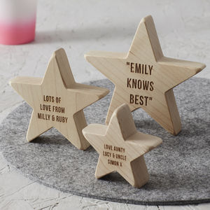 Personalised Wooden Star For Her - keepsakes