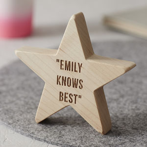 Personalised Wooden Star For Her - home accessories
