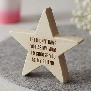 Personalised Wooden Star For Mum - ornaments