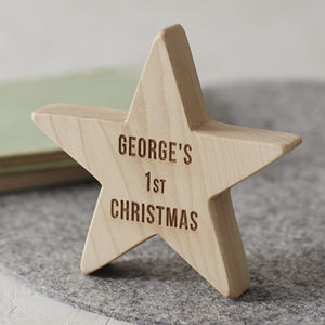 Personalised Baby's First Christmas Wooden Star - christmas home
