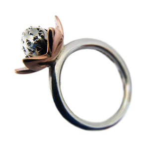 Silver And Antique Rose Gold Succulent Flower Ring - rings