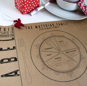Personalised Kraft Paper Christmas Place Mats - placemats & coasters