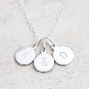 Hand Stamped Triple Silver Personalised Charm Necklace - wedding jewellery