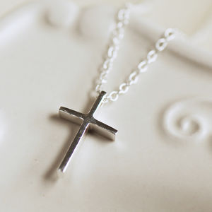 Delicate Cross Necklace - flower girl jewellery