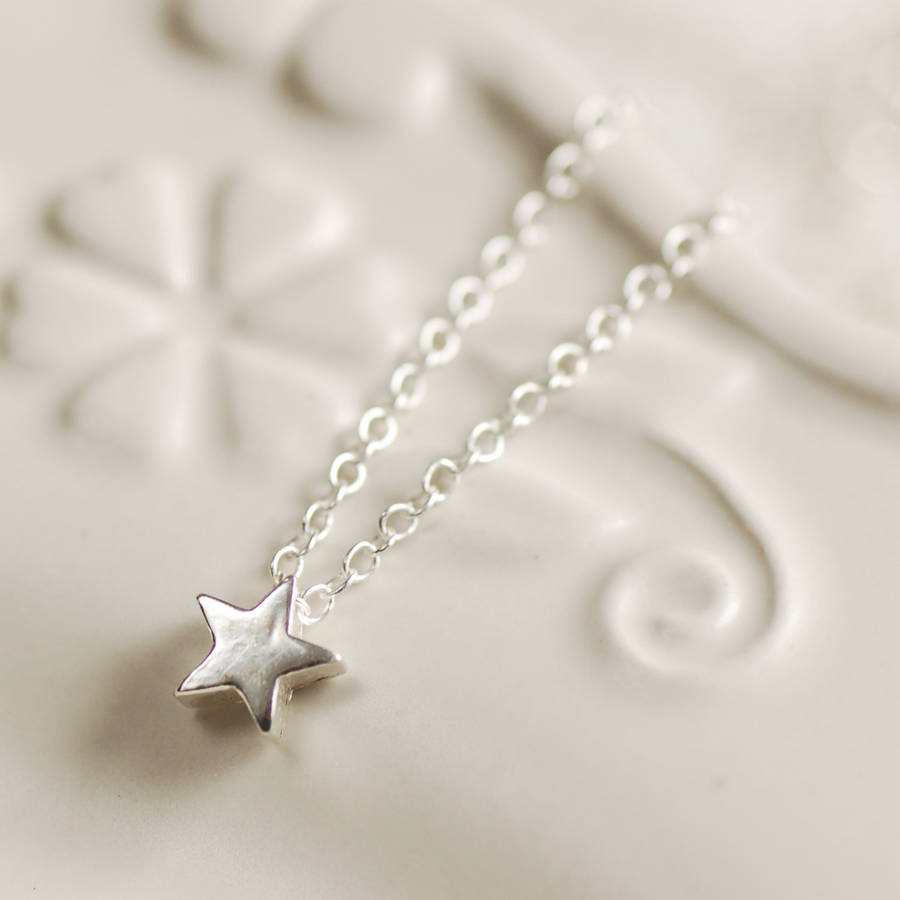 Delicate sterling silver star necklace by highland angel delicate sterling silver star necklace mozeypictures Image collections