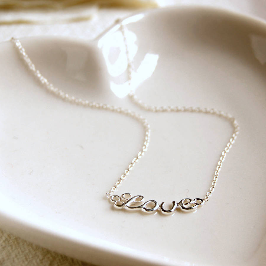 Love Silvers: Sterling Silver Love Necklace By Highland Angel