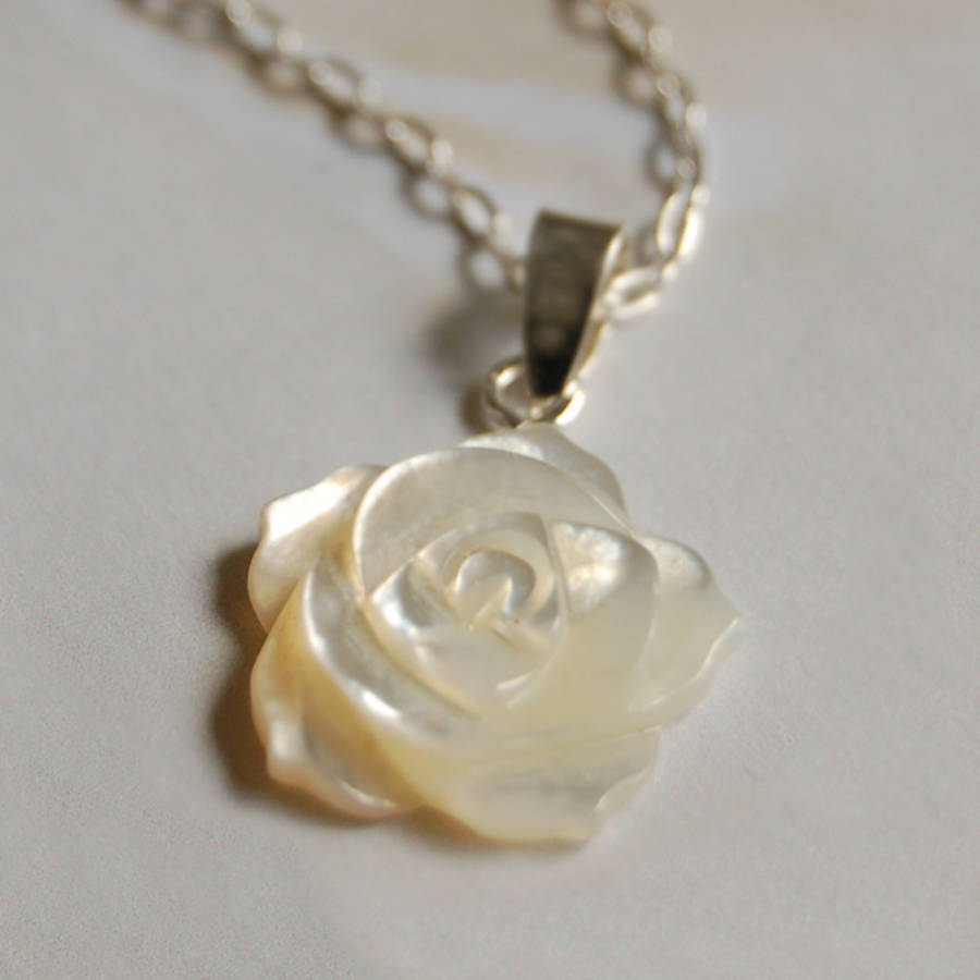 carved mother of pearl flower necklace by highland angel ...