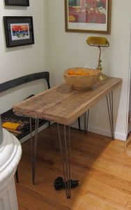 Small Kitchen Table Reclaimed Oak Hairpin Legs - furniture