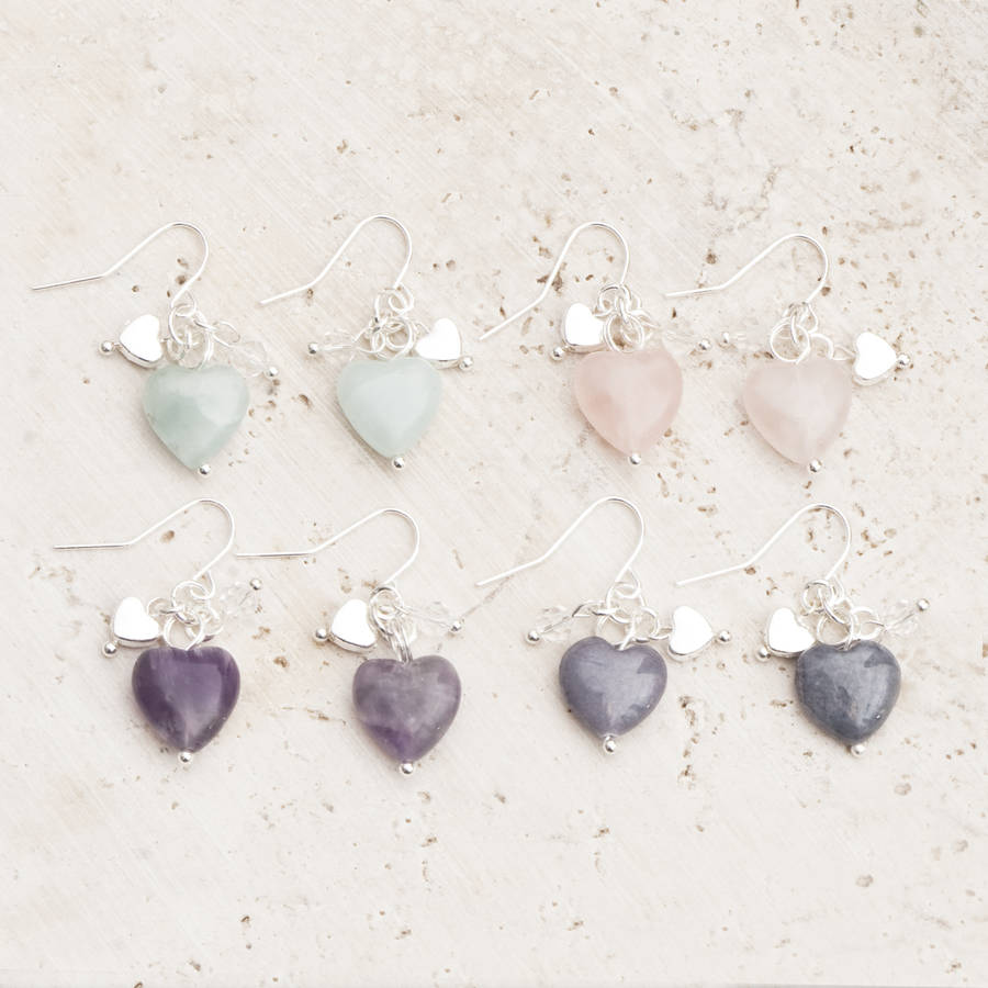 Maya Stone Heart Silver Earrings