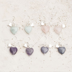Maya Stone Heart Silver Earrings - gifts for her