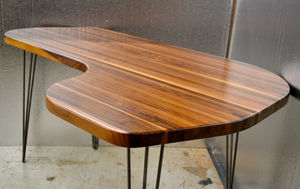Desk Solid Black Walnut L Shape Mid Century Modern - furniture