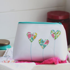 Personalised Leather Heart Make Up Bag - destination anywhere
