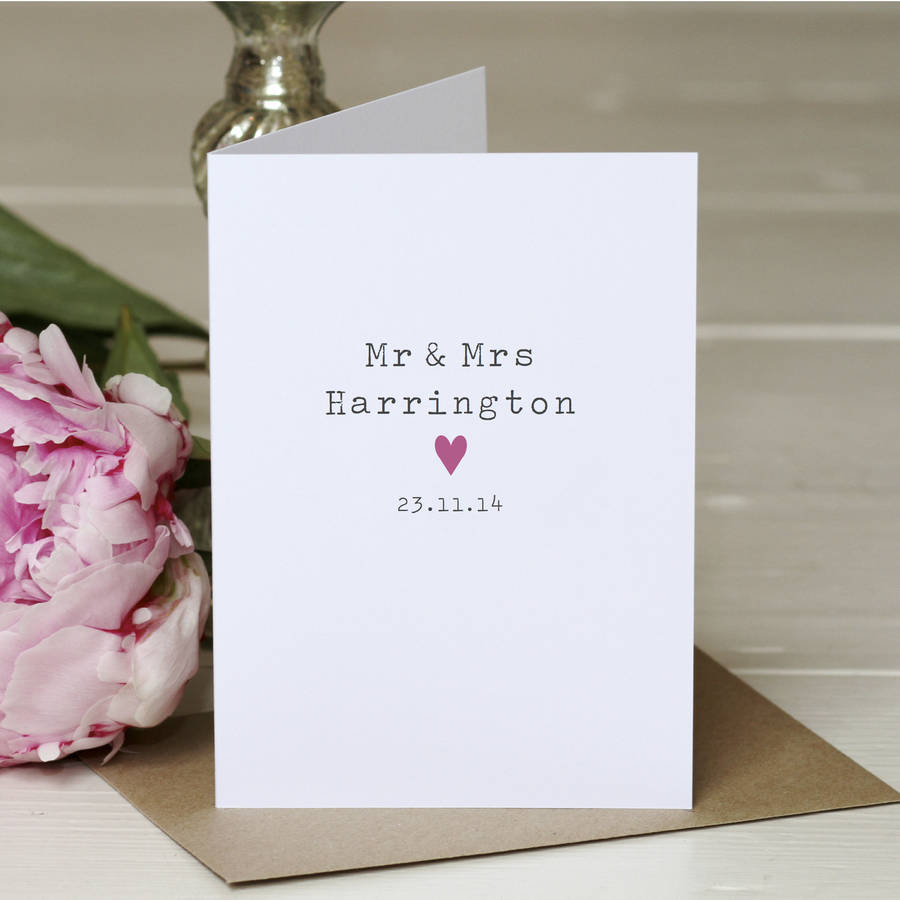how to write thank you notes for wedding gift cards%0A Personalised  u    Mr And Mrs u     Wedding Card