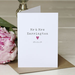 Personalised 'Mr And Mrs' Wedding Card - thank you cards